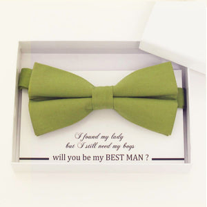Olive green bow tie, Best man request gift, Groomsman bow tie, Man of honor gift, Best man bow tie, best man gift, man of honor request bow