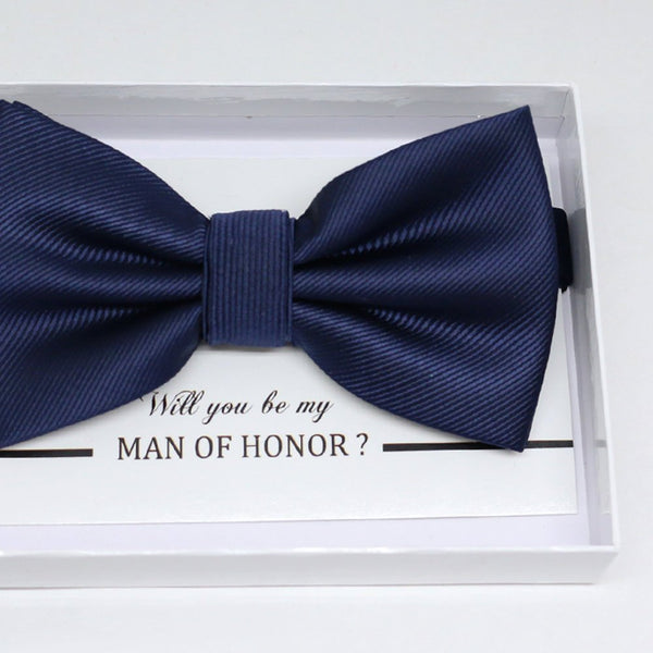 Navy bow tie, Best man request gift, Groomsman bow tie, Man of honor gift, Best man bow tie, best man gift, man of honor request, thank you