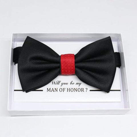 Black Red bow tie, Best man request gift, Groomsman bow tie, Man of honor gift, Best man bow tie, best man gift, man of honor request bowtie