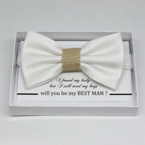 White Burlap bow tie, Best man request gift, Groomsman bow tie, Man of honor gift, Best man bow tie, best man gift, man of honor request bow