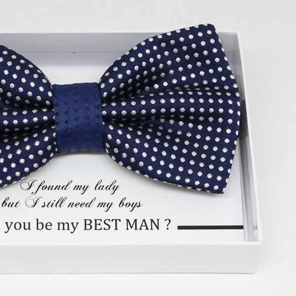 Navy bow tie, Best man request gift, Groomsman bow tie, Ring Bearer bow tie, Man of honor gift, baby announcement, toddler bow, handmade