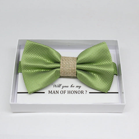 Green Burlap bow tie, Best man request gift, Groomsman bow tie, Man of honor gift, Best man bow tie, best man gift, man of honor request bow