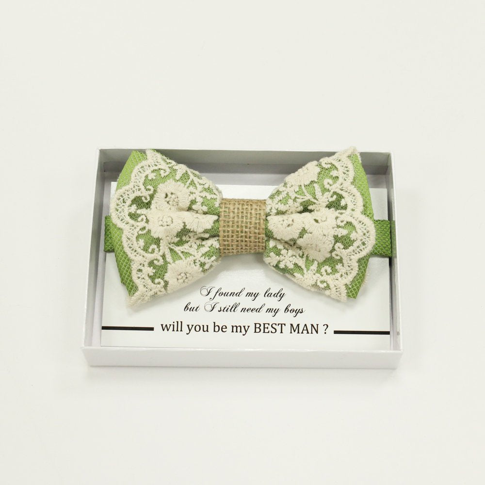 Green Lace burlap bow tie, Best man request gift, Groomsman bow tie, Man of honor gift, Best man bowtie, best man gift, man of honor request