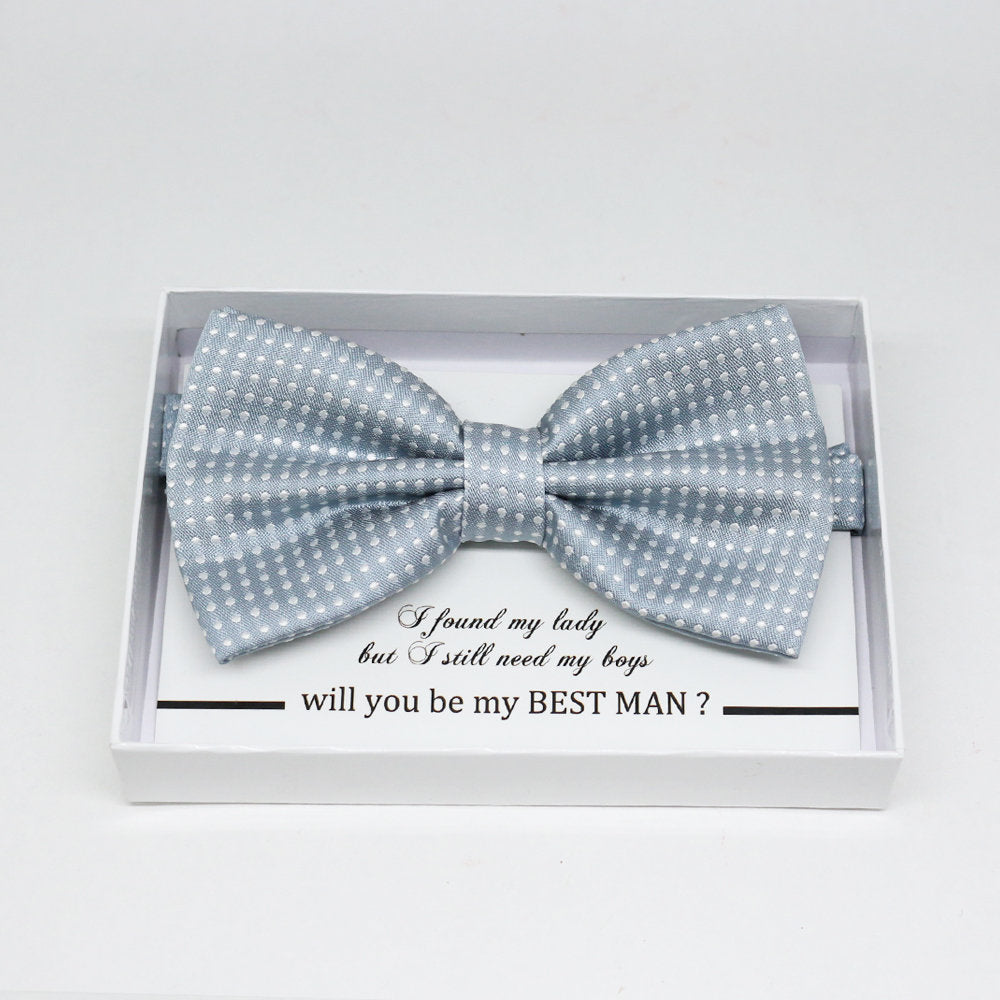 Gray bow tie, Best man request gift, Groomsman bow tie, Ring Bearer bow tie, Man of honor gift, baby announcement, toddler bow tie
