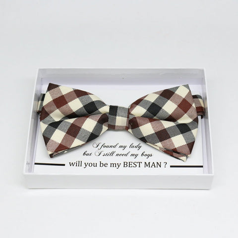 Gingham brown Ivory bow tie, Best man request gift, Groomsman bow tie, Man of honor gift, Best man bow, best man gift, man of honor request