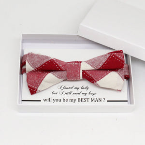 Red bow tie, Best man request gift, Groomsman bow tie, Man of honor gift, Best man bow tie, best man gift, man of honor request, thank you
