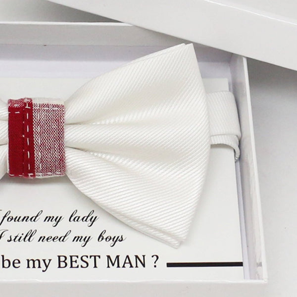 Red White bow tie, Best man request gift, Groomsman bow tie, Man of honor gift, Best man bow tie, best man gift, man of honor request bow