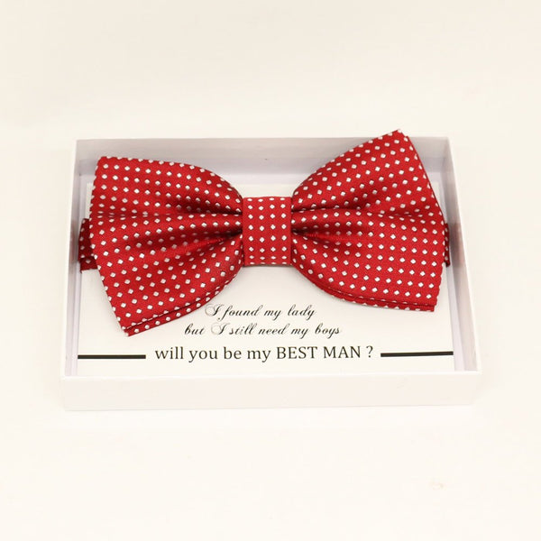 Red bow tie, Best man request gift, Groomsman bow tie, Ring Bearer bow tie, Man of honor gift, baby announcement, toddler Red bow, handmade
