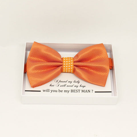 Orange polka dots bow tie, Best man request gift, Groomsman bow tie, Man of honor gift, Best man bow, best man gift, man of honor request