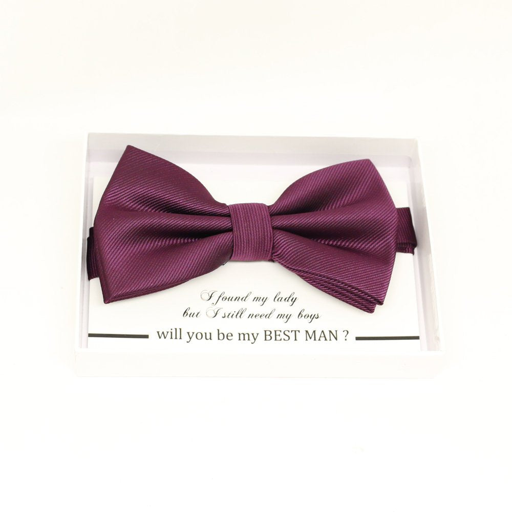 Purple bow tie, Best man request gift, Groomsman bow tie, Man of honor gift, Best man bow, best man gift, man of honor request, Prune bow