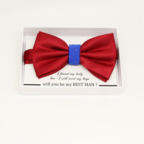 Red Royal blue bow tie, Best man request gift, Groomsman bow tie, Ring Bearer bow tie, Man of honor gift, baby announcement, toddler bow tie