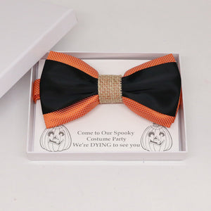 Black orange burlap bow tie, Best man request gift, Groomsman bow tie, Man of honor gift, Best man bow, best man gift, man of honor request
