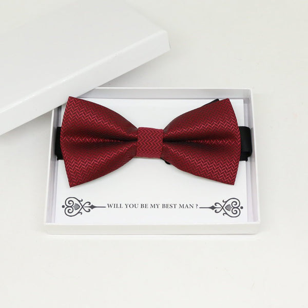 Burgundy bow tie, Best man request gift, Groomsman bow tie, Man of honor gift, Best man bow tie, best man gift, man of honor request, bow