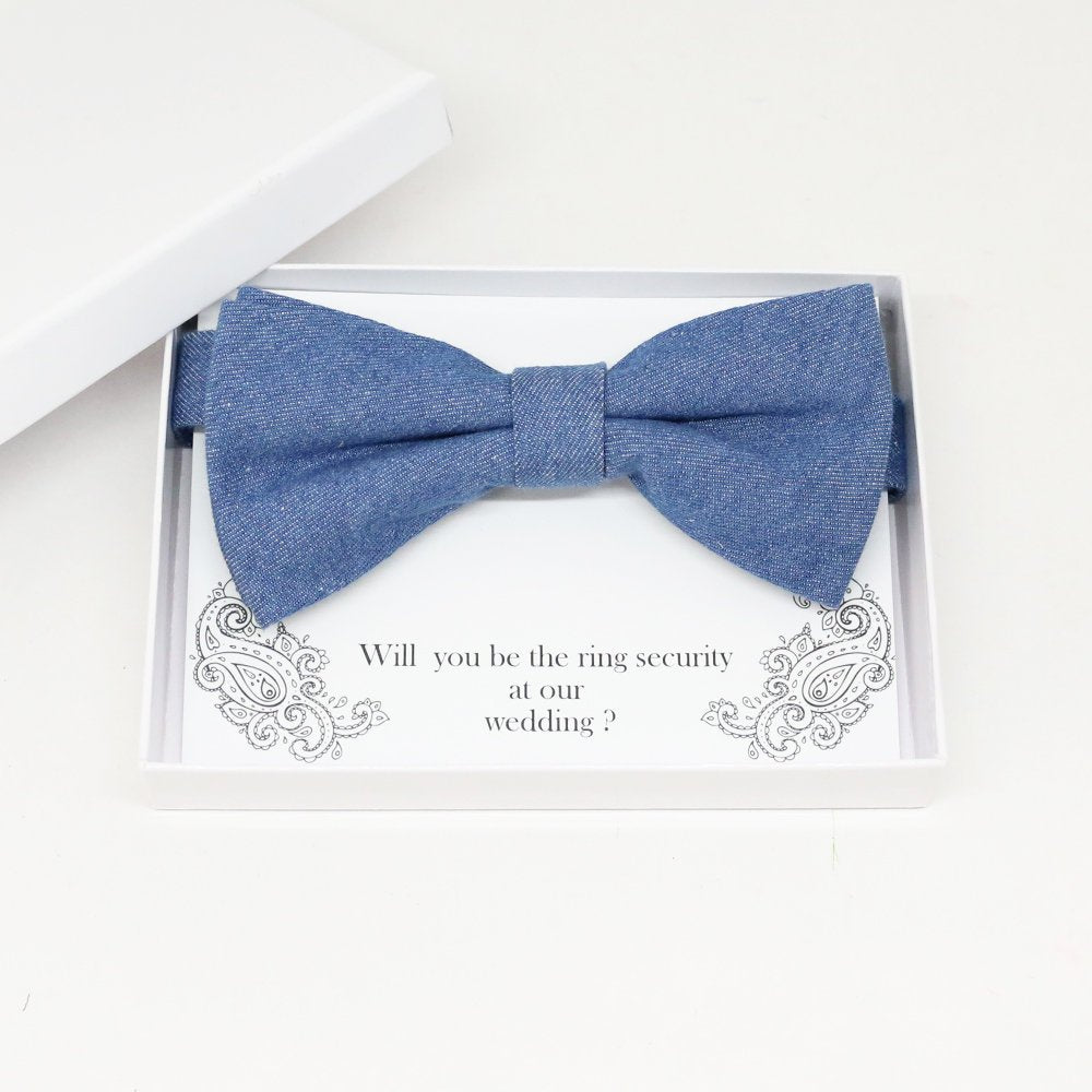 Denim bow tie, Best man request gift, Groomsman bow tie, Man of honor gift, Best man bow tie, best man gift, man of honor request, thank you