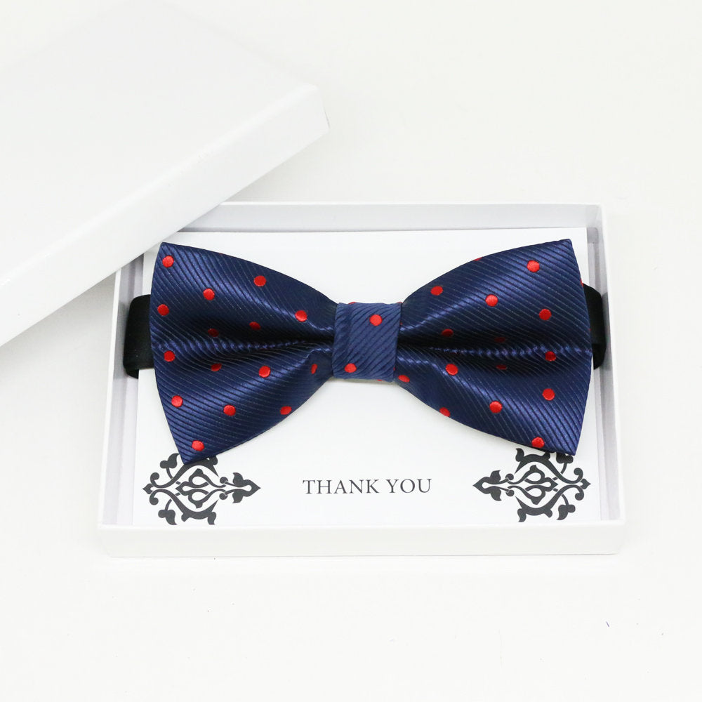 Navy Red Polka dots bow tie, Best man request gift, Groomsman bow tie, Man of honor gift, Best man bow, best man gift, man of honor request
