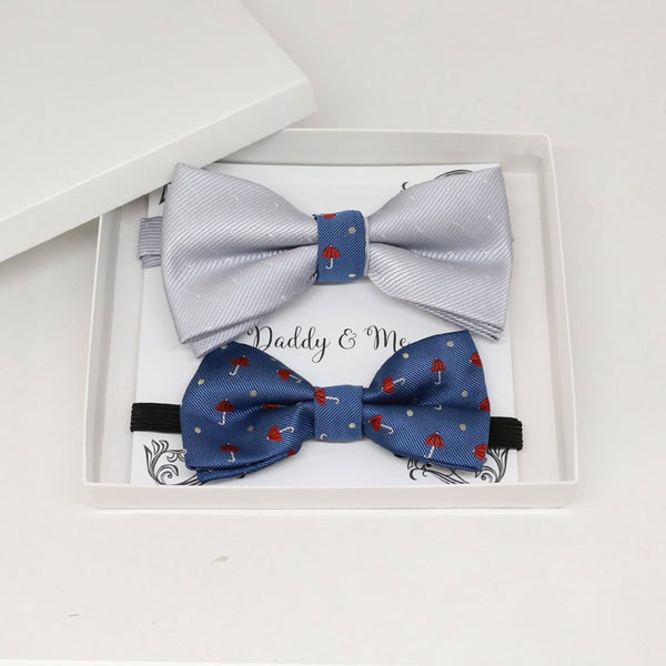 Silver Navy Bow tie set for daddy and son, Daddy me gift set, Grandpa and me, Father son matching, Toddler bow tie, daddy me bow tie gift