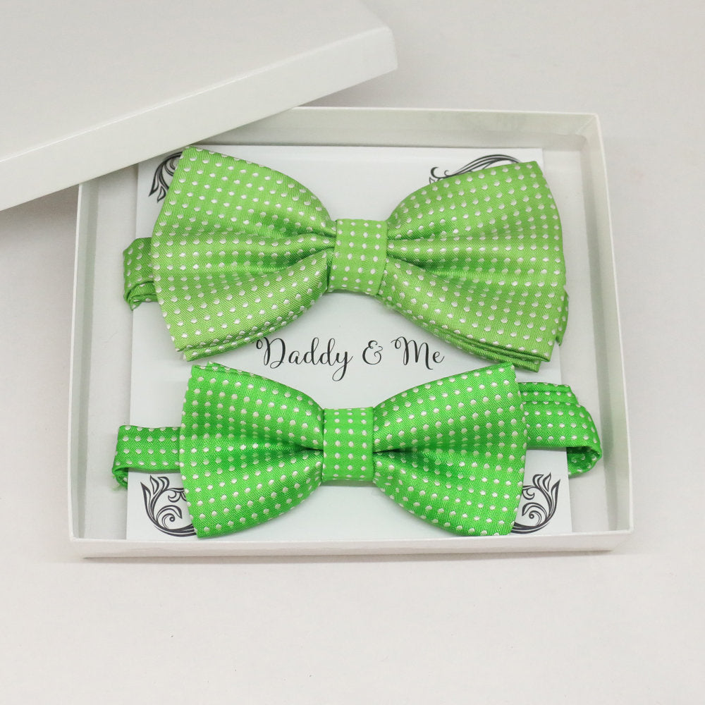 Green Bow tie set for daddy and son, Daddy me gift set, Grandpa and me, Father son matching, Toddler bow tie, daddy me bow tie gift