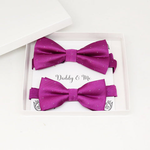Fuchsia Bow tie set for daddy and son, Daddy and me gift set, Grandpa and me, Father son matching, Toddler bow tie, daddy me bow tie gift