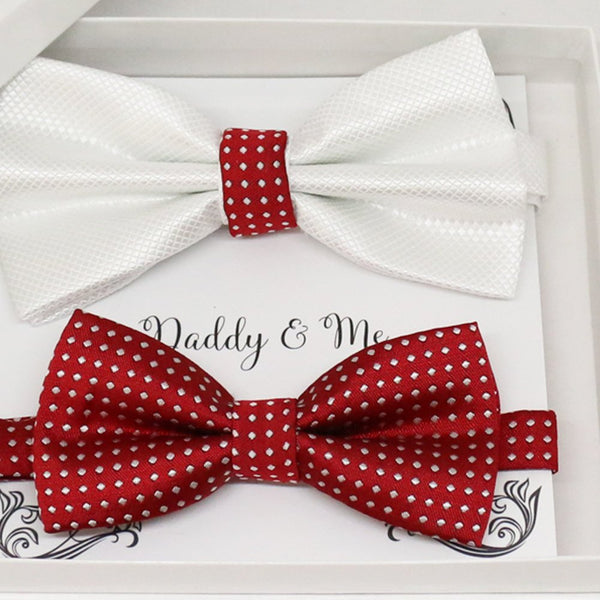 Red White Bow tie set for daddy and son, Daddy me gift set, Grandpa and me, Father son matching, Toddler bow tie, daddy me bow tie gift