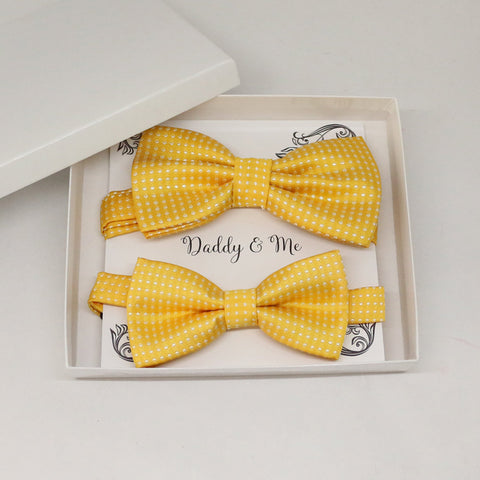 Yellow Bow tie set for daddy and son, Daddy and me gift set, Grandpa and me, Father son matching, Toddler bow tie, daddy and me bow tie gift