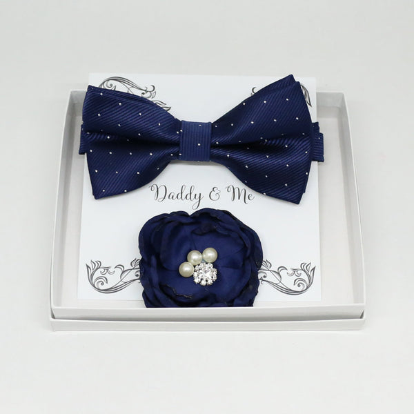 Navy French rose Headpiece, Navy bow tie, Me & daddy, Daddy's Daughter, Hairpin, Flower headpiece,Flower and bow tie set, Navy set