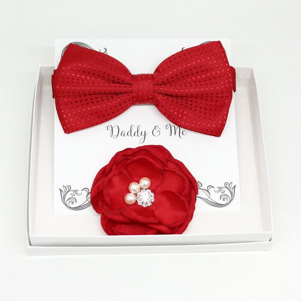 Red bow tie Flower, Daddy's Daughter, Red Flower headpiece,Mommy and me, Daddy Mommy gift set, Daddy and me gift set