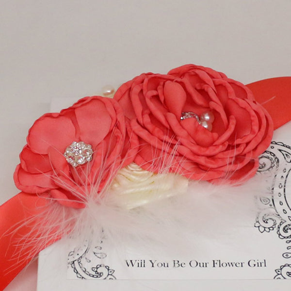Coral rose with Pearl flower Sash, Flower girl sash belt, Satin sash, Maternity Flower Sash,Flower belt,Wedding Sash belt, Bridemade Sash