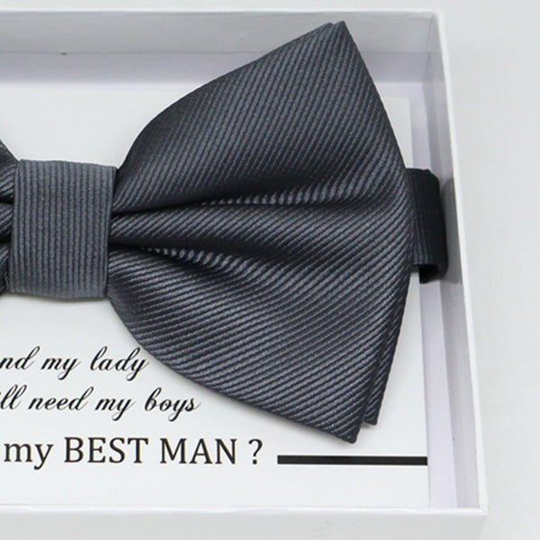Charcoal bow tie, Best man request gift, Groomsman bow tie, Man of honor gift, Best man bow tie, best man gift, man of honor request bow tie