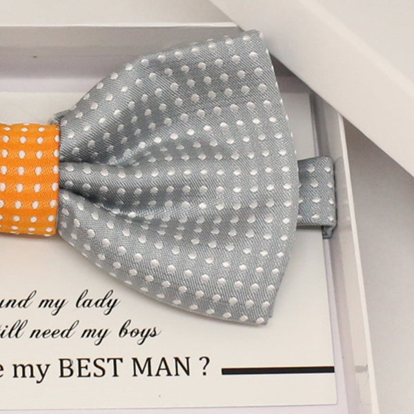 Gray Orange bow tie, Best man request gift, Groomsman bow tie, Ring Bearer bow tie, Man of honor gift, baby announcement, toddler bow