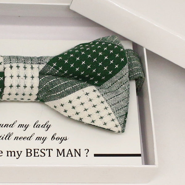 Plaid Green bow tie, Best man request gift, Groomsman bow tie, Man of honor gift, Best man bow tie, best man gift, man of honor request bow