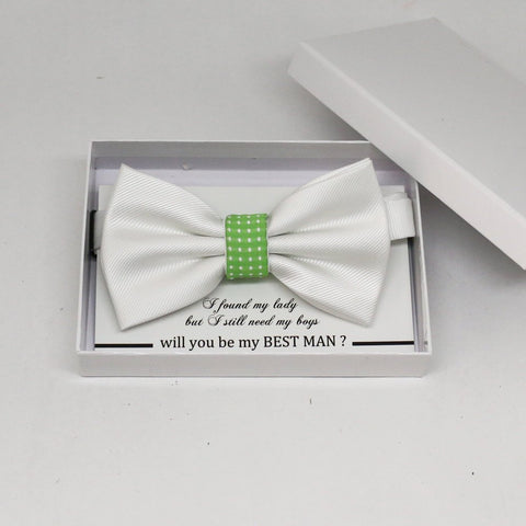 White green bow tie, Best man request gift, Groomsman bow tie, Man of honor gift, Best man bow tie, best man gift, man of honor request bow