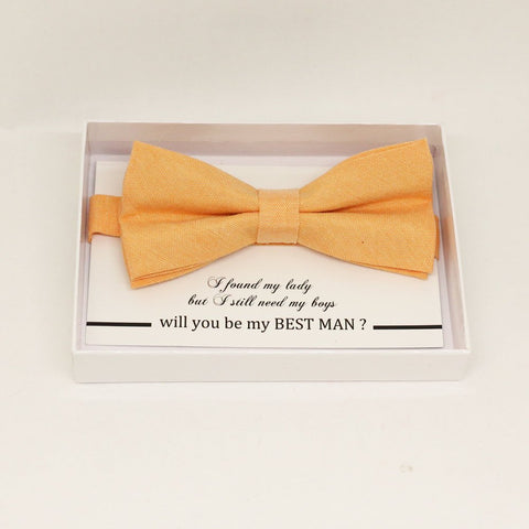 Pale orange bow tie, Best man request gift, Groomsman bow tie, Man of honor gift, Best man bow tie, best man gift, man of honor request bow