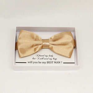 Pale Gold bow tie, Best man request gift, Groomsman bow tie, Man of honor gift, Best man bow tie, best man gift, man of honor request bow