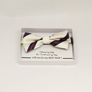 Strip white bow tie, Best man request gift, Groomsman bow tie, Man of honor gift, Best man bow tie, best man gift, man of honor request bow