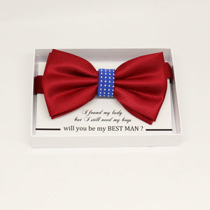 Red Royal blue bow tie, Best man request gift, Groomsman bow tie, Man of honor gift, Best man bow tie, best man gift, man of honor request