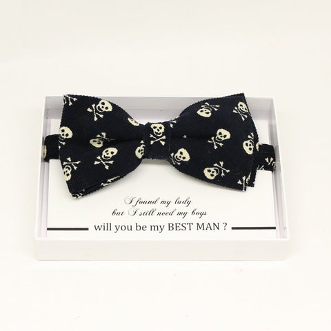 Black skull bow tie, Best man request gift, Groomsman bow tie, Man of honor gift, Best man bow tie, best man gift, man of honor request bow