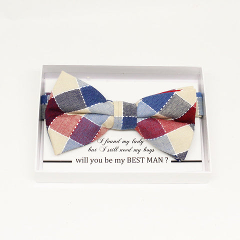 Plaid Red blue bow tie, Best man request gift, Groomsman bow tie, Man of honor gift, Best man bow, best man gift, man of honor request bow