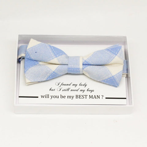 Plaid blue bow tie, Best man request gift, Groomsman bow tie, Man of honor gift, Best man bow, best man gift, some thing blue, ring bearer
