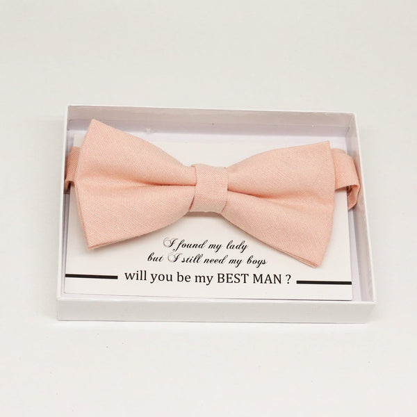 Peach bow tie, Best man request gift, Groomsman bow tie, Man of honor gift, Best man bow tie, best man gift, man of honor request, thank you