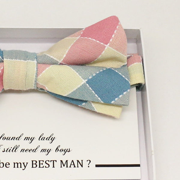 Pink cream bow tie, Best man request gift, Groomsman bow tie, Man of honor gift, Best man bow tie, best man gift, ring bearer request, plaid