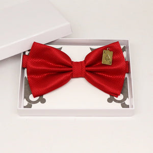 Red bow tie, Best man request gift, Groomsman bow tie, Ring Bearer bow tie, Man of honor gift, baby announcement, Handmade, Playing card