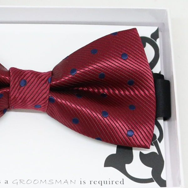 Burgundy navy bow tie, Best man request gift, Groomsman bow tie, Man of honor gift, Best man bowtie, best man gift, man of honor request bow
