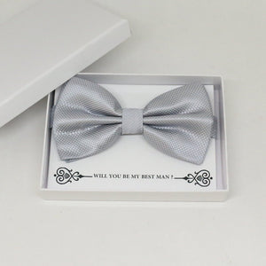 Silver bow tie, Best man request gift, Groomsman bow tie, Man of honor gift, Best man bow tie, best man gift, man of honor request, thankyou