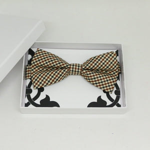 Cream brown gingham bow tie, Best man request gift, Groomsman bow, Man of honor gift, Best man bow tie, best man gift, man of honor request