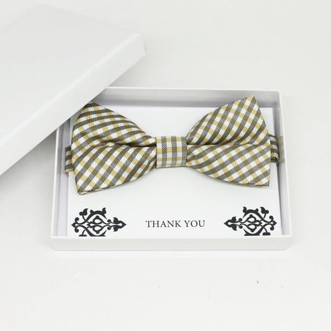 Champagne bow tie, Best man request gift, Groomsman bow tie, Man of honor gift, Best man bow tie, best man gift, almond Beige plaid bow