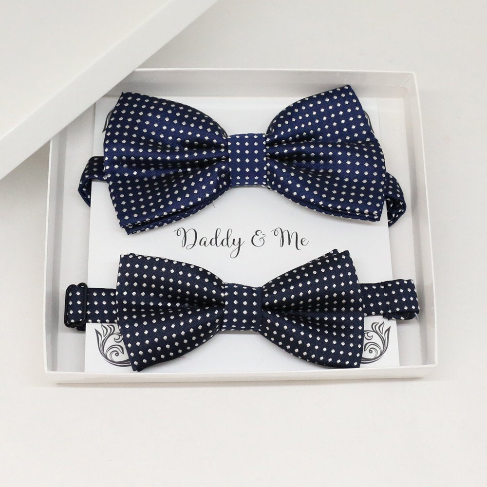 Navy orange Bow tie set for daddy and son, Daddy me gift set, Grandpa and me, Father son matching, Toddler bow tie, daddy me bow tie gift