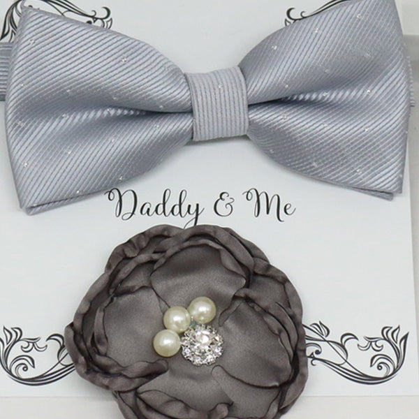 Charcoal French rose Headpiece, Silver bow tie, Me & daddy, Daddy's Daughter, Hairpin, Flower headpiece,Flower and bow tie set, Gray set