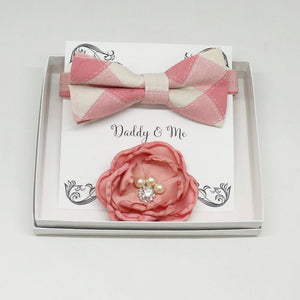 Dusty pink French rose Headpiece, Plaid Pink bow tie, Me & daddy, Daddy's Daughter,Mommy and me, Flower headpiece, bow tie