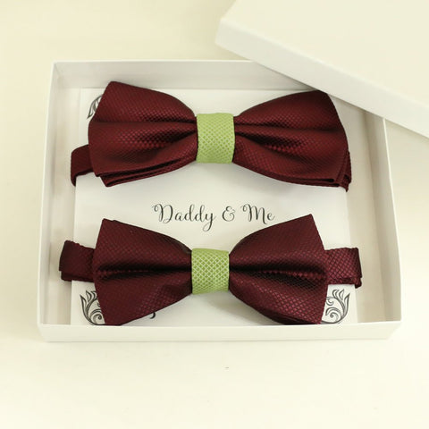 Burgundy Olive Green Bow tie set for daddy and son, Daddy and me gift set, Grandpa me, Father son match, Toddler bow tie, daddy me bow tie