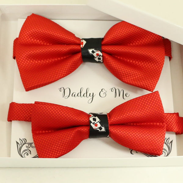Red Bow tie set for daddy and son, Daddy and me gift set, Grandpa and me, Father son matching, Toddler bow, daddy me bow tie, Playing card